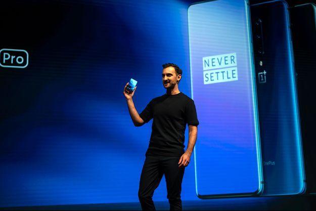 Akis Evangelidis en mai dernier lors de la présentation à Londres du smartphone OnePlus 7.