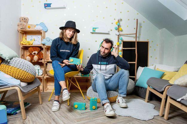 Maëlle Chassard et Igor Krinbarg, codirigeants de Lunii, le 26 novembre, à Paris