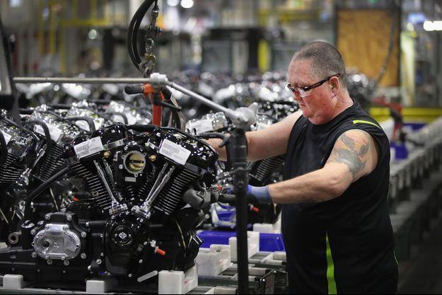 Dans l'usine Harley-Davidson de Menomonee Falls, dans le Wisconsin.