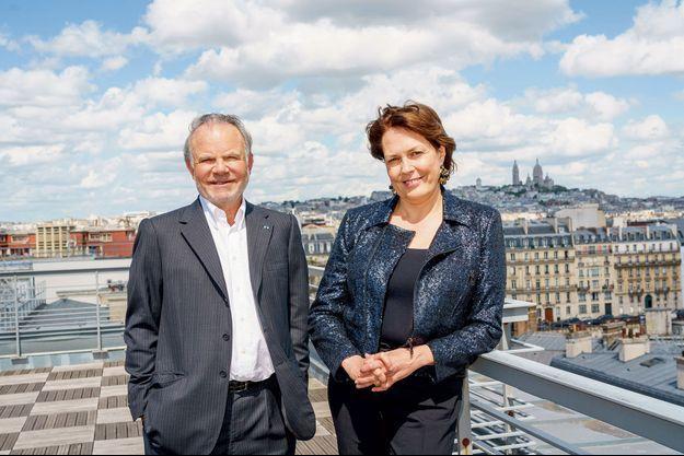 Alain Dinin et Véronique Bédague au siège de Nexity, à Paris, qui déménagera à Saint-Ouen en 2023.