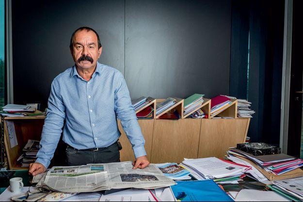 Philippe Martinez dans son bureau au siège de la CGT à Montreuil, le 4 septembre.