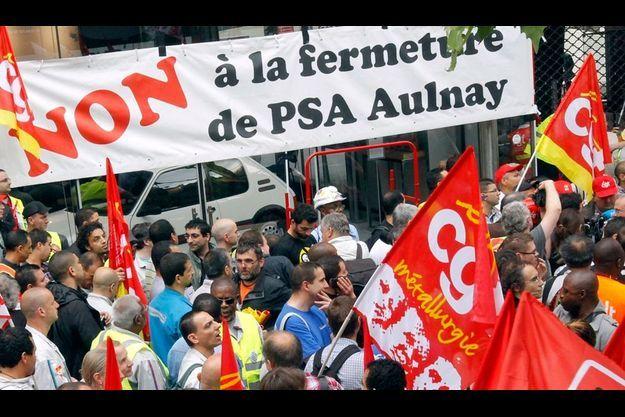 Manifestation contre la fermeture du site d'Aulnay, en juin dernier.