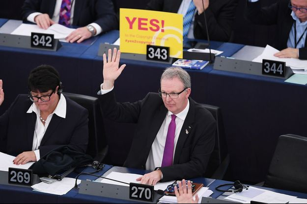 Photo prise au Parlement européen à Strasbourg le 26 mars 2019.