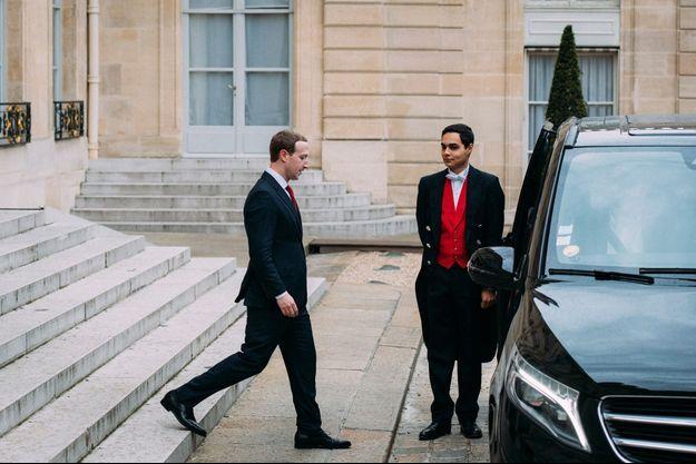 Mark Zuckerberg, vendredi à l'Elysée.