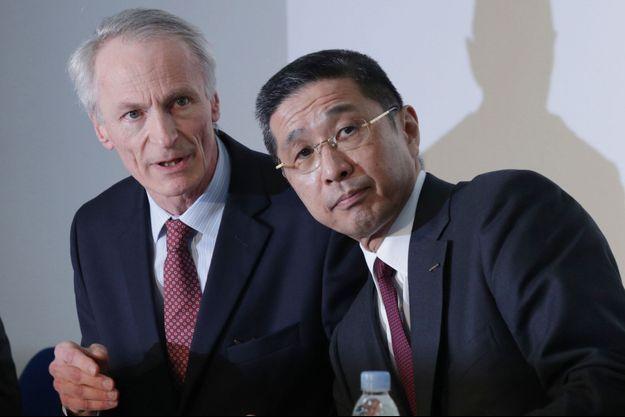 Le président de Renault Jean-Dominique Senard et le patron exécutif de Nissan, Hiroto Saikawa.