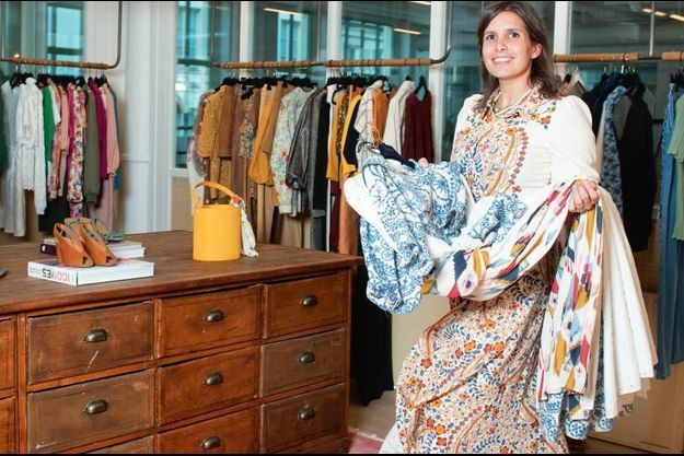 Morgane Sézalory dans son showroom parisien, le 13 avril.
