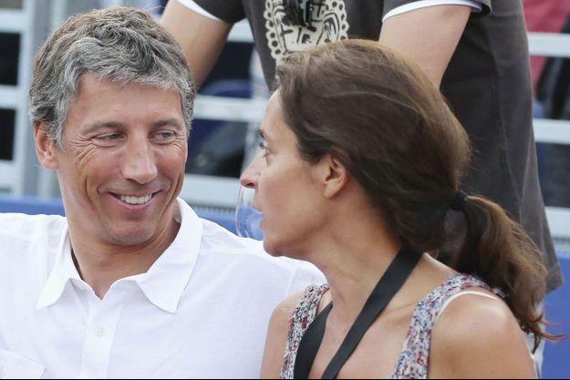 Le 12 juillet 2013, en famille à Saint-Tropez avec sa femme, Florence, lors du match France-Suède du Classic Tennis Tour.