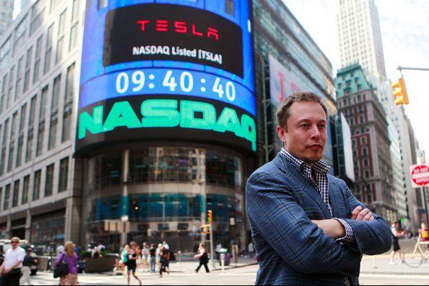 Elon Musk, le fondateur de Tesla, le 29 juin 2010, jour de l'entrée en bourse du constructeur automobile.