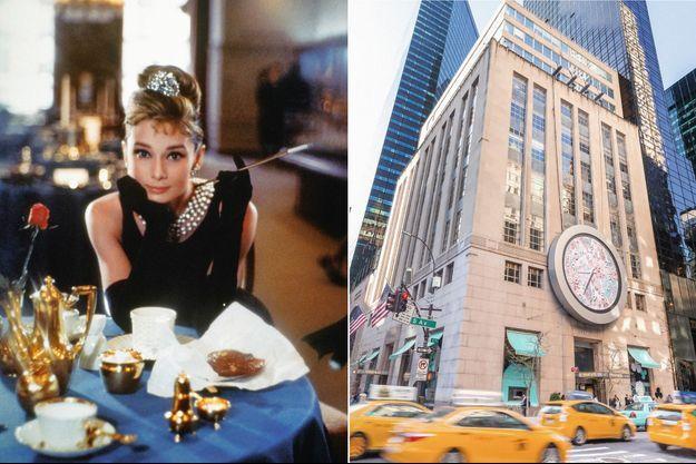 Audrey Hepburn dans « Breakfast at Tiffany's » (« Diamants sur canapé »), de Blake Edwards. Elle porte la robe créée pour elle par Givenchy, une des maisons emblématiques de LVMH. A d. : Le temple de l'enseigne, à l'angle de la 5e Avenue et de la 57e Rue.