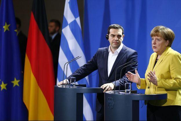 Le Premier ministre grec Alexis Tsipras et la chancelière allemande Angela Merkel, le 23 mars à Berlin.
