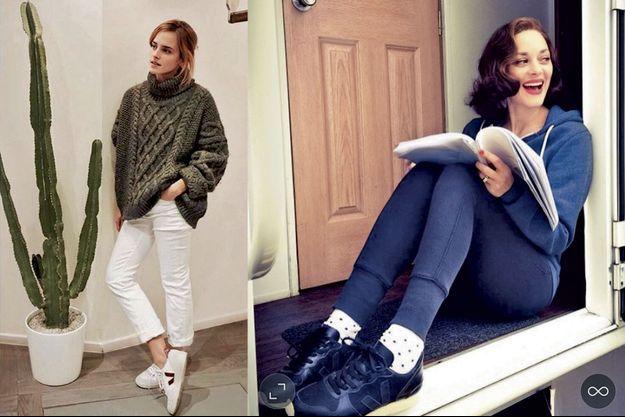 Emma Watson (à g.) et Marion Cotillard, leurs Veja aux pieds.