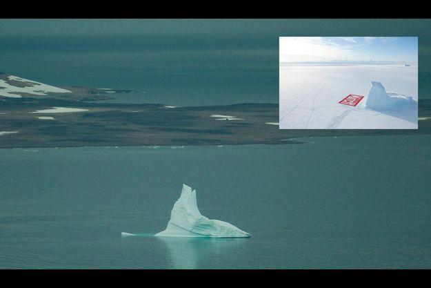 Août 2009, au bord de la baie d'Ittoqqortoormiit, au Groenland, l'éperon au pied duquel l'équipe de Match inscrit le nom de notre magazine ne mesure plus que 20 mètres de hauteur. Début mars, sa taille était de 90 mètres (en médaillon). Après 2007 et 2008, la fonte a connu un niveau record en 2009.