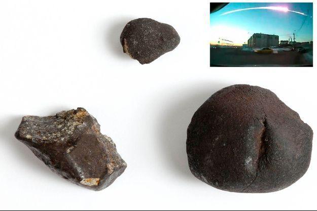 Les trois plus gros fragments de la météorite de Tcheliabinsk.