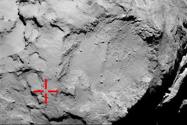 La vision en grand angle de la comète, par le robot Philae.