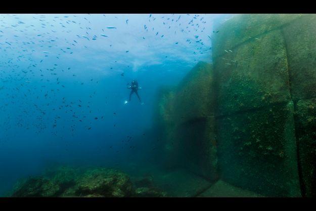 Près de la passe Nord, en pleine mer, des castagnoles, des bogues et des chinchards en quantité entourent le plongeur. Un tiers de la partie immergée de la digue est ici visible. Le fond est à 35 mètres.