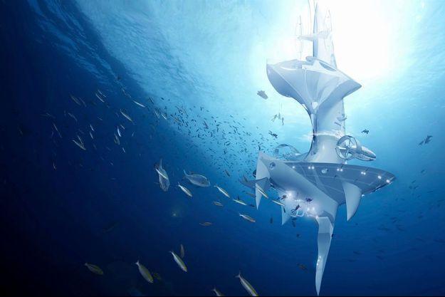 """Image de synthèse du """"SeaOrbiter"""", le projet de vaisseau aquatique de l'architecte français Jacques Rougerie: 35 millions de coût, et 58 mètres de haut pour une poids de 2600 tonnes de Sealium, un alu recyclable conçu pour le milieu marin."""