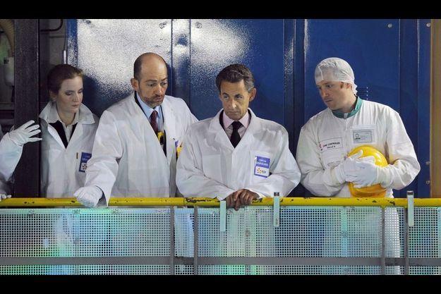 Nicolas Sarkozy lors de la visite de la centrale nucléaire de Gravelines, le 3 mai dernier.