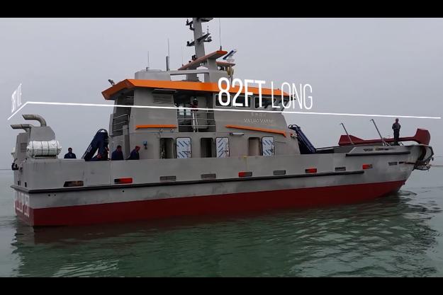 Le Spillglop-250 peut avaler 50 000 mètres carrés d'hydrocarbures en une heure.