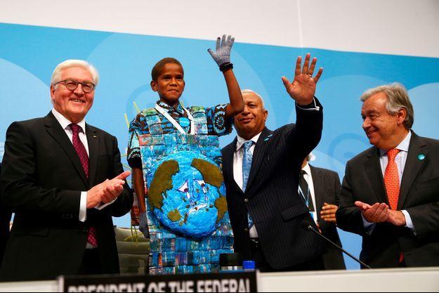 Le jeudi fidjien Timothy Naulusala a pris la parole lors de la COP23 à Bonn, en Allemagne.