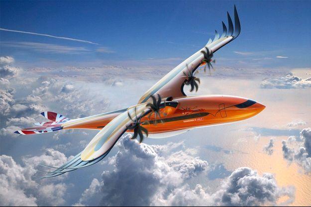 """Sur ce concept d'Airbus baptisé """"Bird of Prey"""", l'inscription """"Engineering is great"""" (L'ingénierie est géniale, en français) a pour but de motiver de nouveaux ingénieurs à travailler dans le secteur de l'aéronautique."""