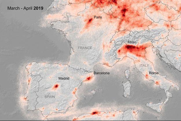 Concentration de dioxyde d'azote (NO2) en Europe.
