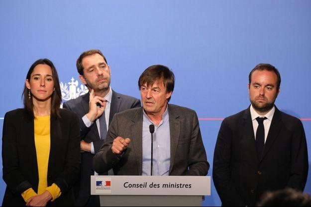 Nicolas Hulot, entouré de Brune Poirson, Christophe Castaner et Sébastien Lecornu, mardi.