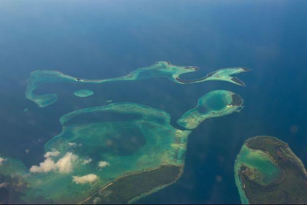 Vue aérienne des îles Salomon.