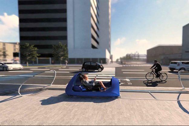 L'Urbanloop en démonstration. (Image réalisée sur ordinateur).