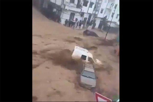 Lors des inondations de Tétouan.