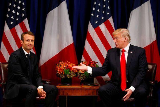 Donald Trump et Emmanuel Macron à New York, le 18 septembre 2017.