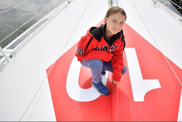Greta Thunberg à bord du voilier Le Malizia II.