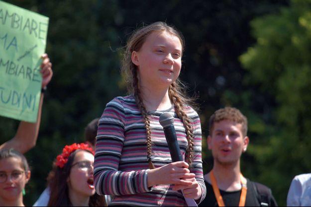 Greta Thunberg participe à une manifestation pour le climat à Stockholm (Suède) en avril 2020.
