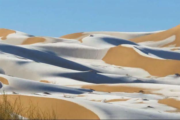 Les dunes du Sahara enneigées en 2021.