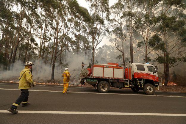 Des pompiers combattent les flammes à Burrill Lake en Nouvelle-Galles du Sud.