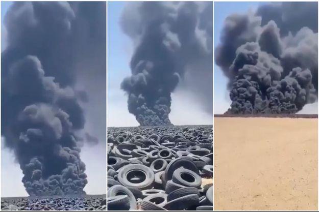 La décharge de Sulaibiya en flammes.