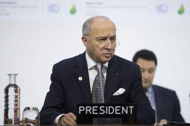 Le président de la COP21 Laurent Fabius