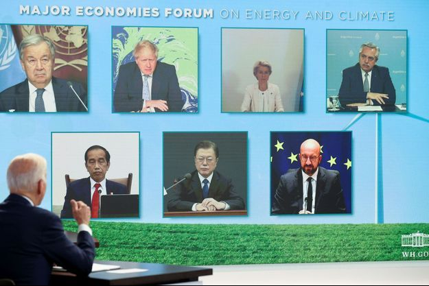 Joe Biden assistant à la réunion sur le climat, le 17 septembre 2021.