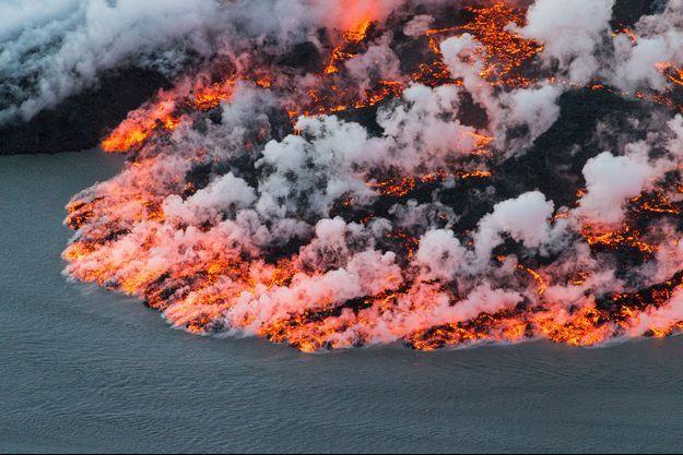 Vue aérienne du volcan Bárðarbunga, immortalisée en 2014.