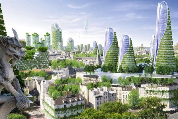 Dans le parc de Vincent Callebaut, les tours sont rafraîchies par la verdure et les toits des immeubles hausmanniens transformés en potagers.