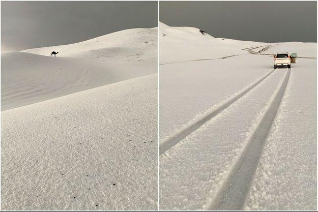 Les dunes blanchies par la grêle à Ha'il.
