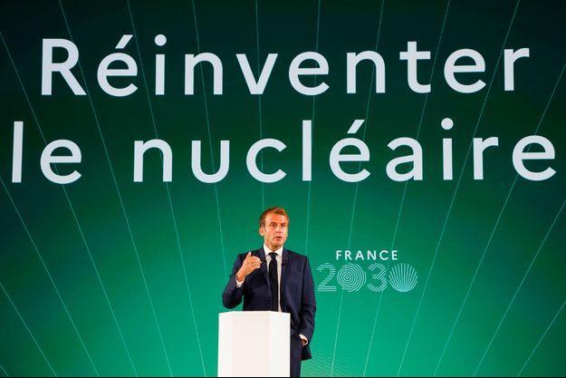 Emmanuel Macron lors de la présentation du plan France 2030, mardi à Paris.