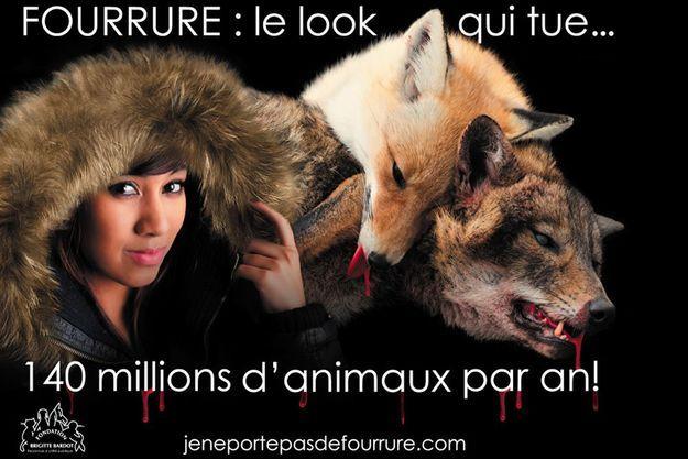 Un visuel de la nouvelle campagne de la Fondation Brigitte Bardot contre la fourrure.