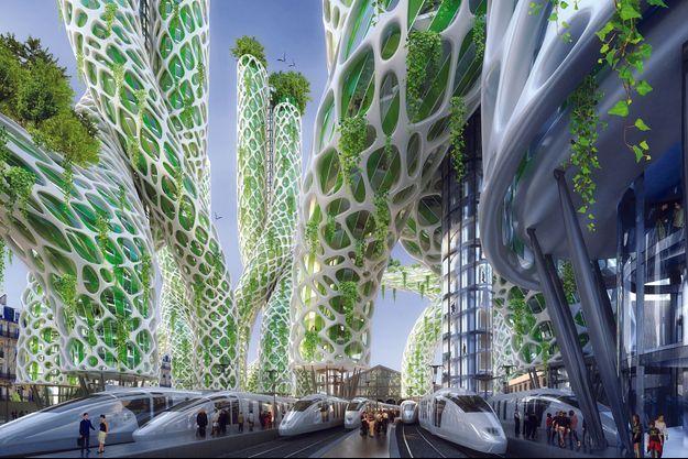 Horizon 2050. Les tours « mangrove » de Vincent Callebaut pour la gare du Nord à Paris : logements, bureaux, hôtels.