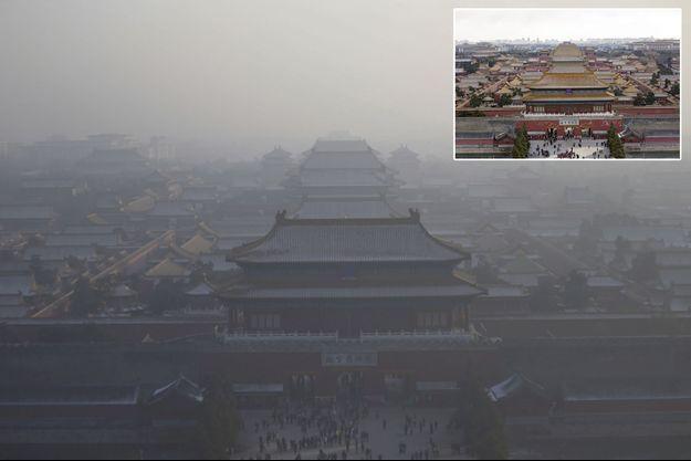 La Cité interdite à Pékin. A un jour d'intervalle (en médaillon), elle flotte sous un voile de pollution industrielle.