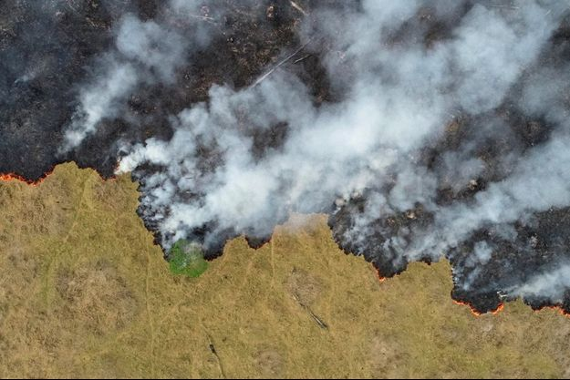 Vue aérienne de la forêt amazonienne en flamme prise le 24 août dans l'Etat Rondonia, au Brésil.