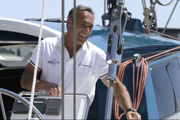 Mike Horn à bord de son voilier Pangaea en 2016.