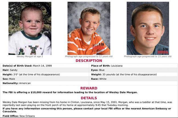 Wesley Dale Morgan avait 2 ans lorsqu'il a disparu en Louisiane.