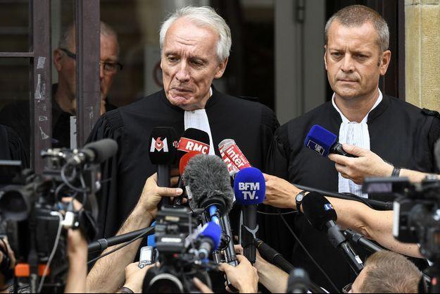 Jean-Paul Teissonnière et Christophe Ballorin, les avocats de Murielle Bolle en juin 2017, à Dijon.