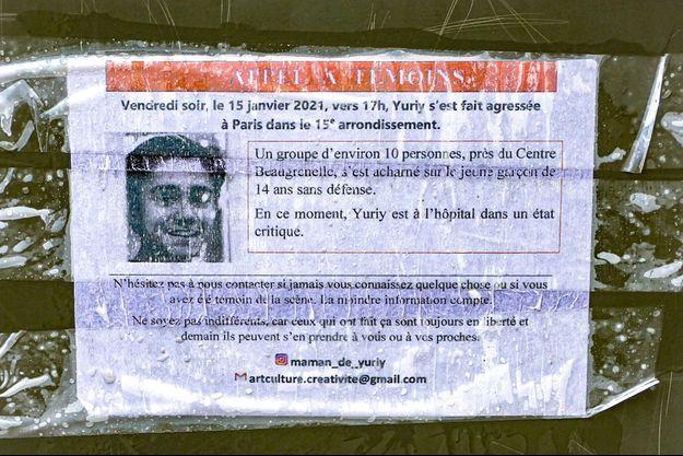 Un appel à témoins avec la photo de Yuriy placardé sur un mur du quartier parisien de Beaugrenelle.