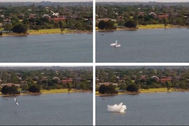 L'avion a plongé dans la rivière.